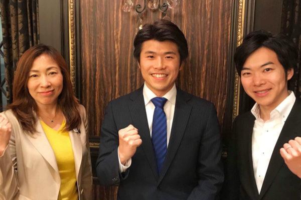 勉強会に参加した時に、東京都議会議員の上田令子議員と音喜多駿議員とご一緒に写真を撮らせていただきました。